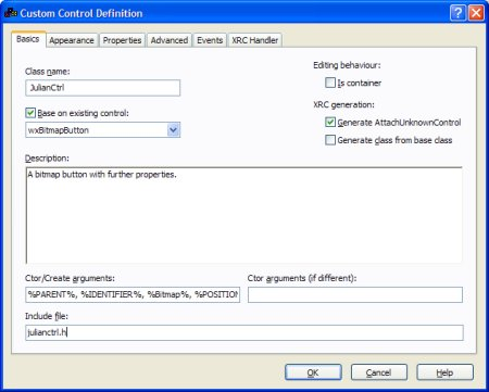 The custom control definition editor