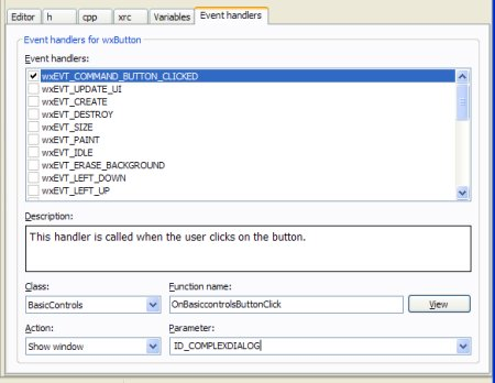 The event handler editor